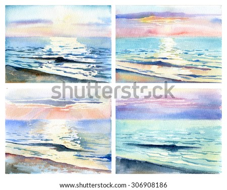 Watercolor sketch sunset on the sea - stock photo
