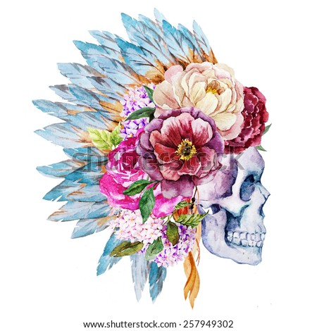 watercolor, skull, feathers, flowers, head