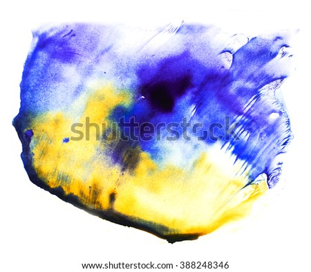 Watercolor splash. Abstract watercolor. Hand drawn watercolor shape background. Isolated on white background. Hand drawn water ink illustration. Bright yellow and blue cyan color. - stock photo