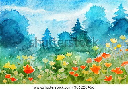 Watercolor spring landscape  - stock photo