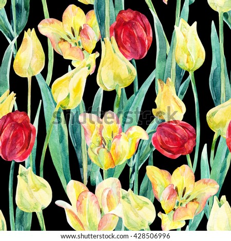 Watercolor spring tulips field seamless pattern. Blooming tulips season in Holland. Watercolor floral seamless pattern on black background. Hand painted illustration nature inspired - stock photo