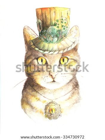 watercolor steampunk cat in the hat with amulet - stock photo