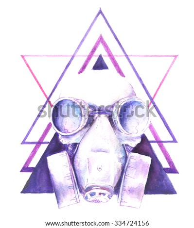 Watercolor Steampunk skull gas mask with graphic elements triangle, shirt design - stock photo