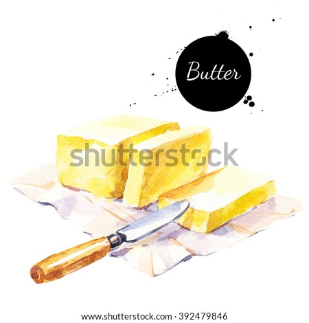 Watercolor stick of butter and knife. Isolated eco natural food illustration on white background - stock photo