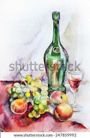 Watercolor still life with wine, glass and fruit - stock photo