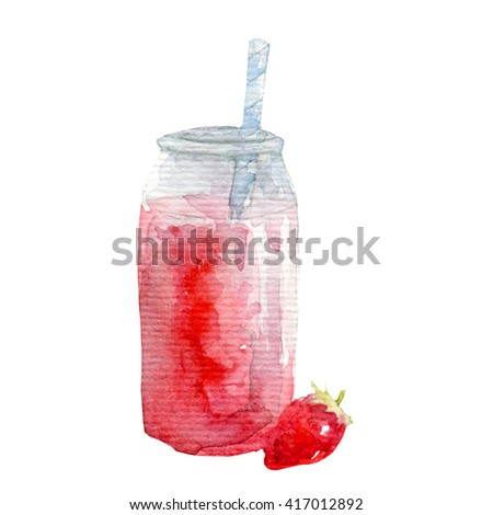 Watercolor strawberry smoothie - stock photo