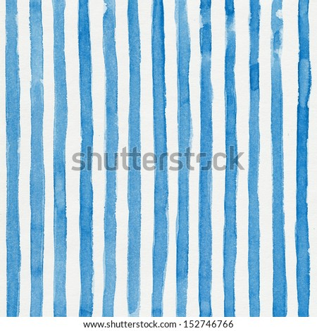 Watercolor striped background with vertical blue stripes - stock photo