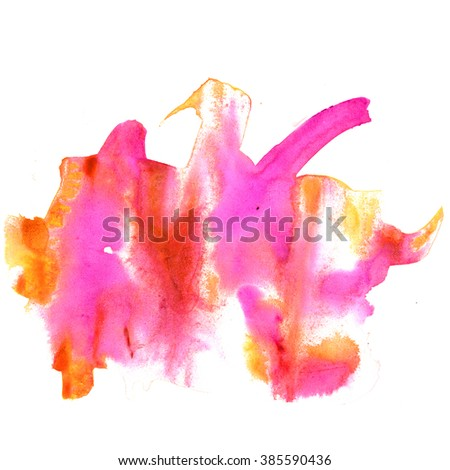 watercolor  strokes paint pink orange stroke texture color with space for your own text - stock photo
