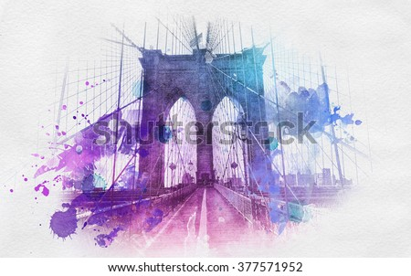 Watercolor style paint splattering over image of the Brooklyn Bridge in New York city from front, low angle view - stock photo
