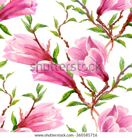 Watercolor Summer Blooming Pink Magnolia Flowers Seamless Pattern on white Background  - stock photo