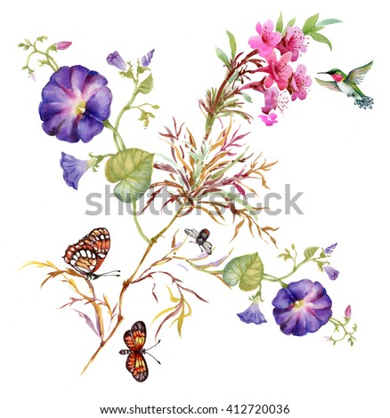 Watercolor Summer garden blooming Bind Weed buds flowers with Spring butterflies on tree twig pattern on white background - stock photo