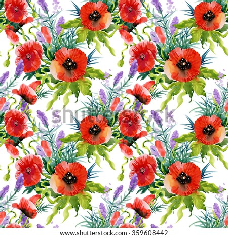 Watercolor Summer Garden Blooming Poppies Flower Seamless Pattern on White Background