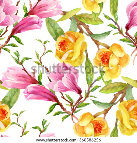 Watercolor Summer Garden Yellow Gorse and Pink Magnolia Blooming Flowers Seamless Pattern on white Background - stock photo