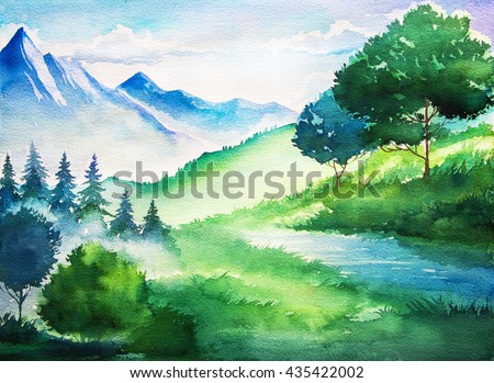 Watercolor summer landscape. Tree and mountains. - stock photo