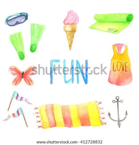 Watercolor summer vacation set - stock photo