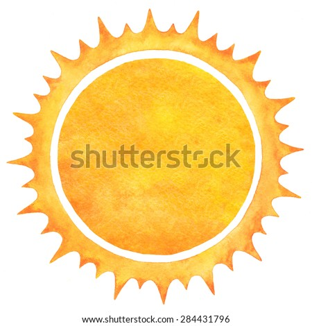 Watercolor sun with spiked crown isolated on white backdrop. Fire circle frame. Sun shape or flame border with space for text. Orange and yellow circle silhouette with rough edges. Raster version. - stock photo