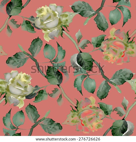 Watercolor Tea Roses seamless pattern on red background - stock photo