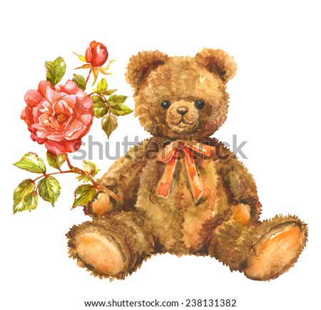 Watercolor  toy  Teddy bear with red rose. Valentines background. - stock photo