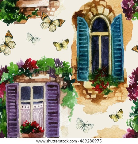 Watercolor Traditional Old Fashioned Window With Potted Flowers Brick Stones And Butterfly Rustic