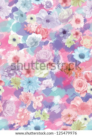watercolor trend drawings for fashion design,apparel and textile,wrapping .floral pattern - stock photo