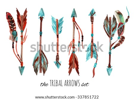 Watercolor tribal arrows set. Hand drawn vintage illustration with arrows and feathers. - stock photo