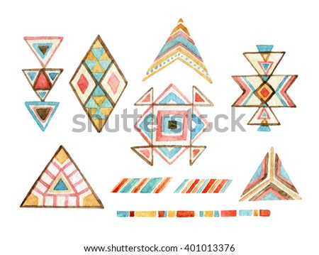 Watercolor tribal elements set for ethnic design. Hand painted aztec illustration. Tribal ornament components isolated on white background - stock photo