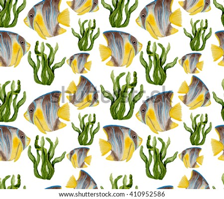 Watercolor Tropical Fish And Seaweed Seamless Pattern - stock photo