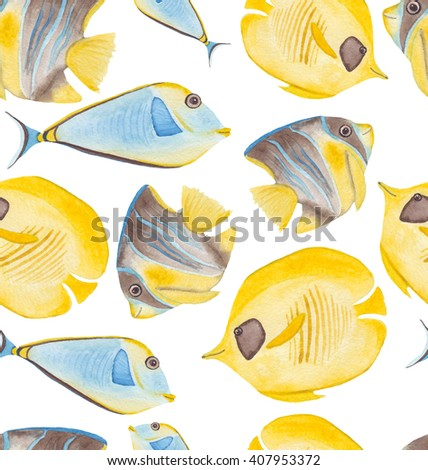 Watercolor Tropical Fish Seamless Pattern - stock photo