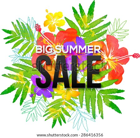 Watercolor tropical flowers bouquet with black Big Summer Sale sign - stock photo