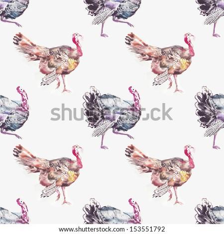 Watercolor turkeys seamless illustration - stock photo