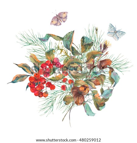 Watercolor vintage autumn bouquet with branches of rowan, spruce, acorns and butterflies. Natural fall botanical illustration.