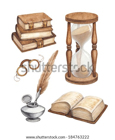 Watercolor vintage books, glasses, sand hourglass and ink pen  illustrations  - stock photo