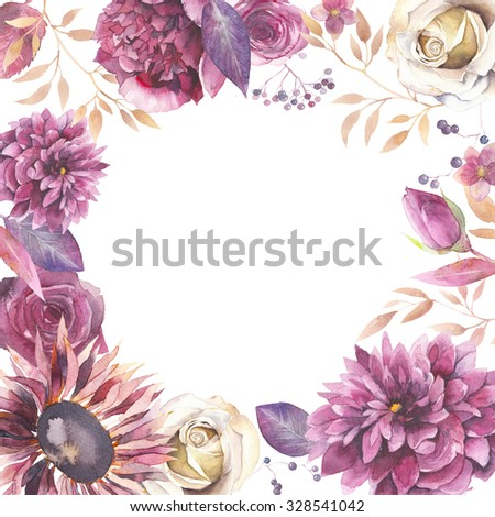 Watercolor vintage floral frame. Greeting card background with flowers, branches, leaves: peony, rose, dahlia,hellebore isolated on white background. Artistic natural design - stock photo