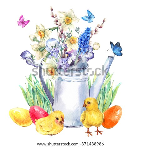 Watercolor vintage Happy Easter greeting card with garden bouquet,  white iron watering cane, easter eggs, chickens, flowers and butterflies, spring watercolor illustrations on a white background - stock photo