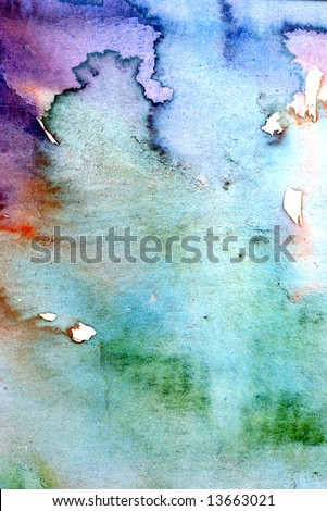 Watercolor wash background with red green and blue layers