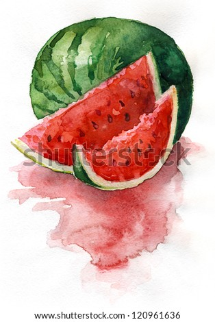 Watercolor watermelon. Watercolor painting. Still life. Sliced watermelon. - stock photo