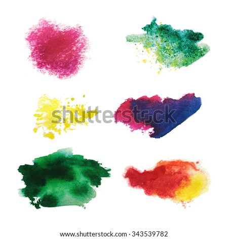 Watercolor Wet Background. Blue Pink Yellow Orange Wet Watercolor Background. Watercolor  abstract background. watercolor brush strokes - stock photo