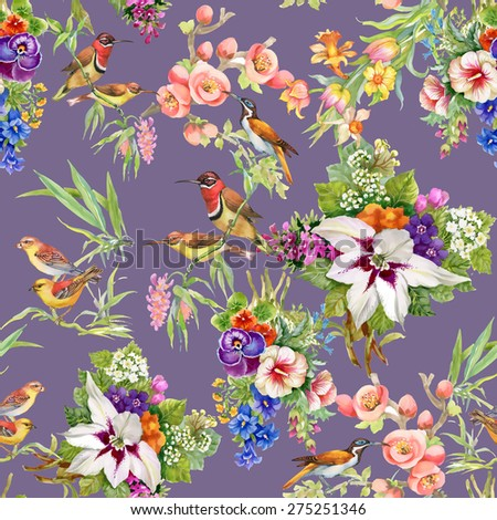 Watercolor Wild exotic birds on flowers seamless pattern on purple background