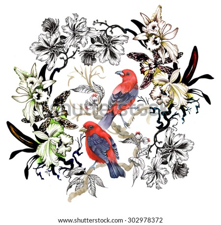 Watercolor wild exotic red birds on twig and wildflowers pattern on white background - stock photo