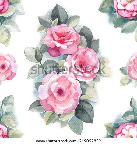 Watercolor wild rose flowers illustration. Seamless pattern  - stock photo