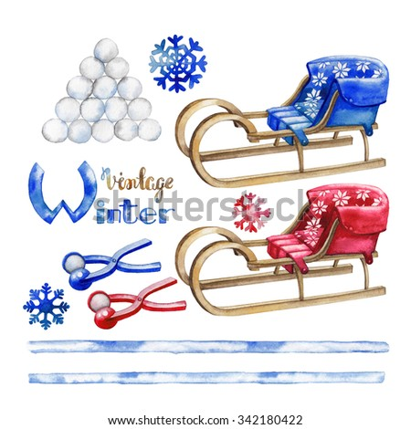 Watercolor winter activities. Snowballs and  vintage sledges isolated on white background - stock photo