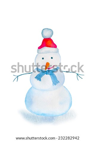 Watercolor winter card with snowman - stock photo