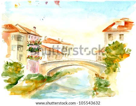 Watercolor with beautiful Italian houses by the pond at sunrise - stock photo