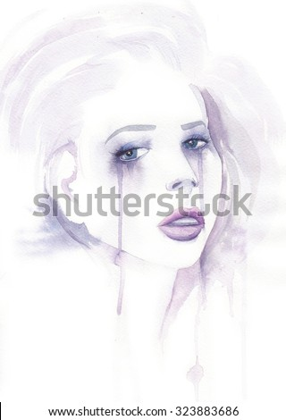 Watercolor woman portrait. Fashion art isolated on white background. Crying girl face with paint splashes and drops