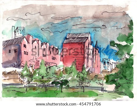 Watercolor works painted from nature. View of the residential development.