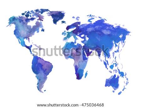 Watercolor world map beautiful map lands stock illustration watercolor world map beautiful map with lands and islands watercolor illustration for decoration gumiabroncs Choice Image