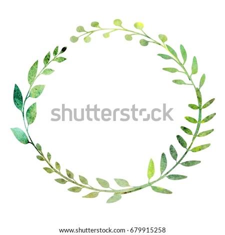 Watercolor Wreath Made Field Meadow Herbs Ilustración de ...