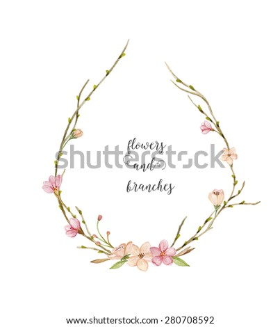 Watercolor wreath of flowers, leaves and branches. Hand painted watercolor illustration. Floral composition - stock photo