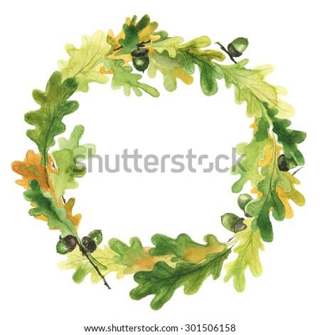 watercolor wreath oak leaves acorns hand stock illustration