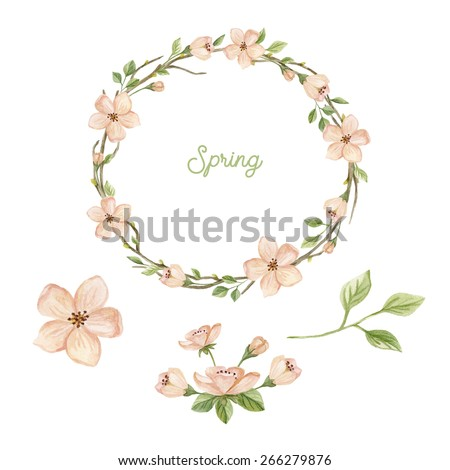 Watercolor wreath with spring flowers, leaves and branches. Spring floral set with  frame  and floral elements. Hand drawn illustration with  blossoming branches isolated on white background. - stock photo
